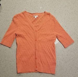 3/4 sleeve peach cardigan